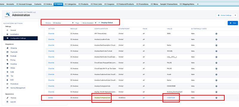 Avalara Tax Company Module within CloudCraze
