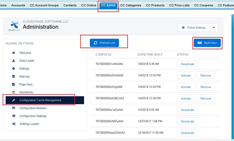Rebuilding the Configuration Cache within CloudCraze