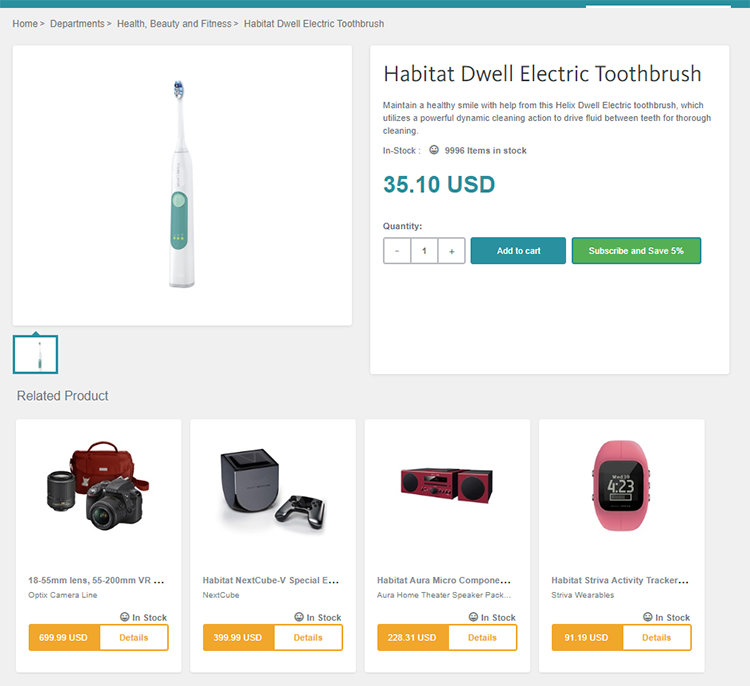 Subscription option showing in Product Display Page with recommended products inside Sitecore Experience Commerce