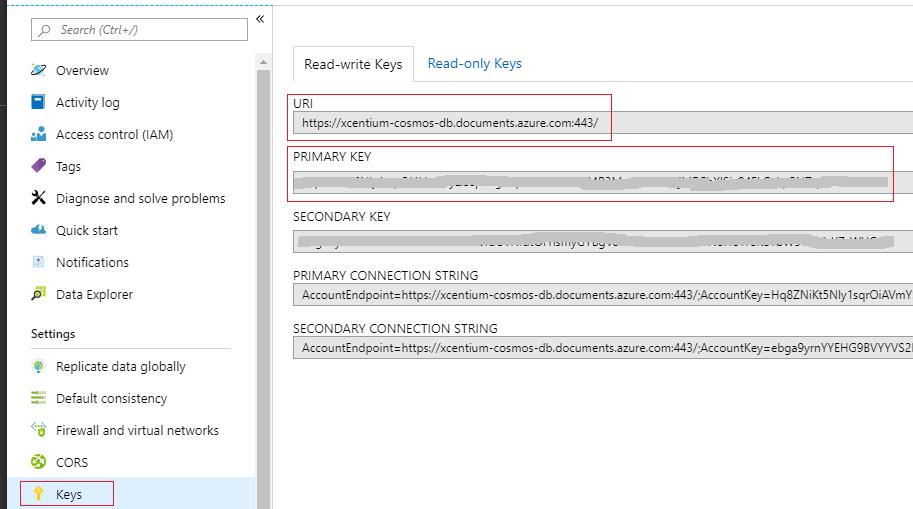 Azure Cosmos DB Access Keys Page