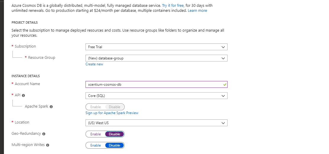 Azure Cosmos DB Create Account