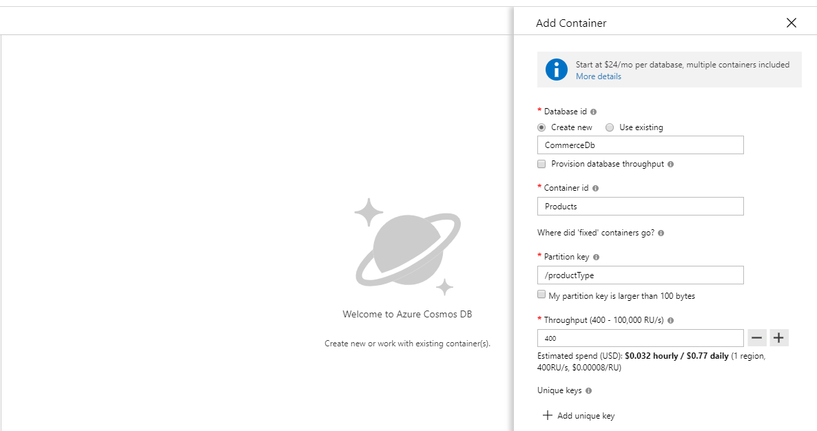 Azure Cosmos DB Create Database and Container