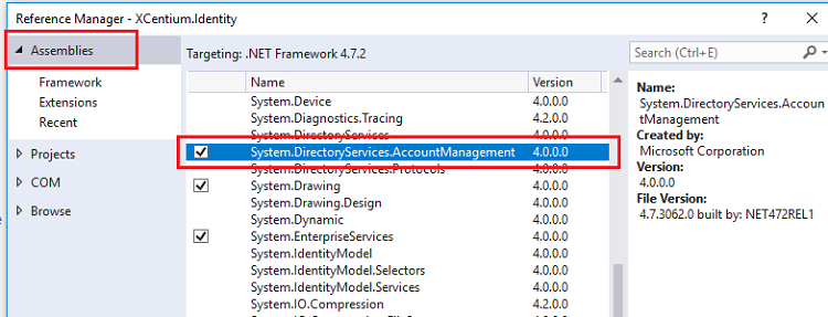 Visual Studio Add Reference to System.DirectoryServices.AccountManagement Assembly