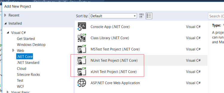 Visual Studio Add New Test Project