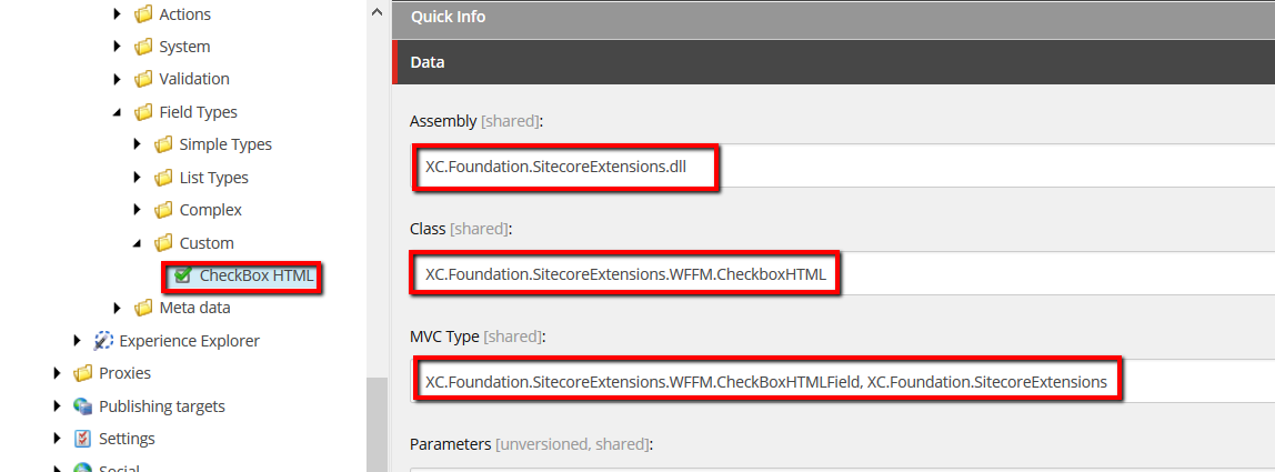 WFFM CheckboxHTML configuration